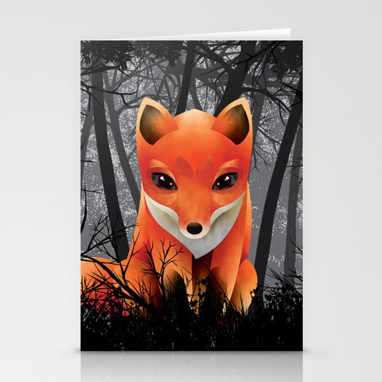 Vulpes Vulpes  at  Night Stationery Cards