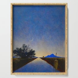 Hot Springs, Yavapai, Arizona landscape painting by Maxfield Parrish Serving Tray