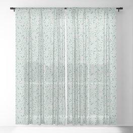 Cottagecore Mistletoe Sage Sheer Curtain