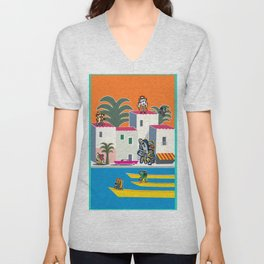 French Riviera Summer with Cool Graffiti Street Art Monsters Unisex V-Neck