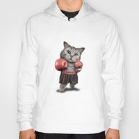 boxing Hoodies featuring BOXING CAT by ADAMLAWLESS