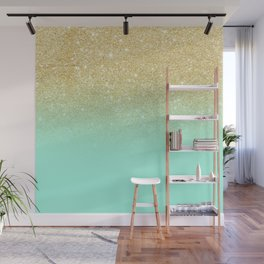 Modern gold ombre mint green block Wall Mural
