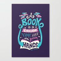 risa rodil Canvas Prints featuring Book is a dream by Risa Rodil