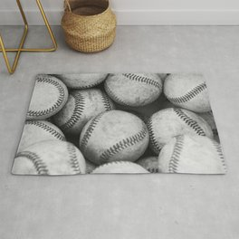 Baseballs Black & White Graphic Illustration Design Rug