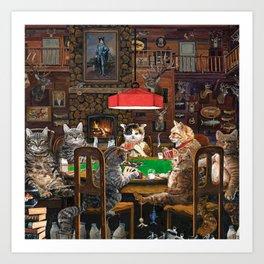 Cats Playing Poker Art Print