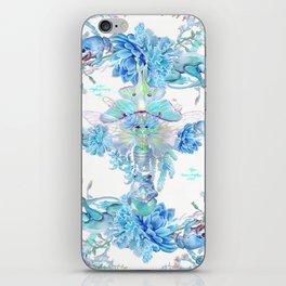 Aqua Chalcedony Luna Moth Succulent Floral iPhone Skin