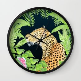 Leopard in Jungle, Night time Background Wall Clock