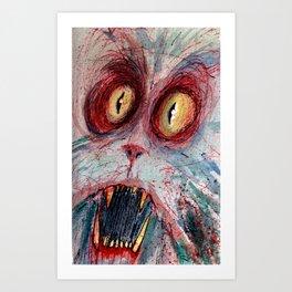 scared zombie cat Art Print