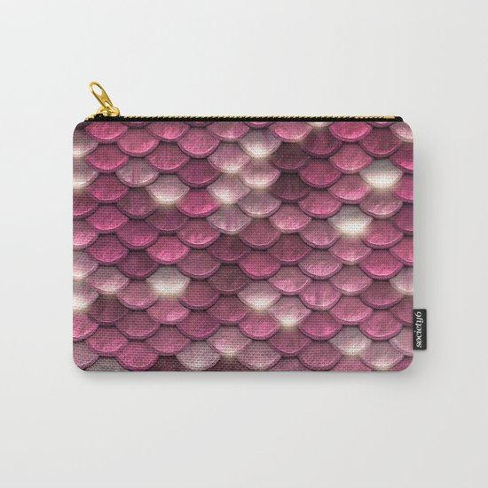 Pink mermaid glitter sparkling scales -  Mermaidscales on #Society6 Carry-All Pouch
