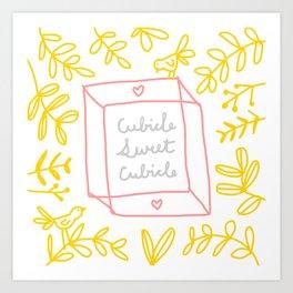 Cubicle Sweet Cubicle – White, Yellow, Pink, Gray Art Print