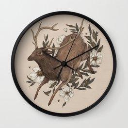 Floral Elk Wall Clock