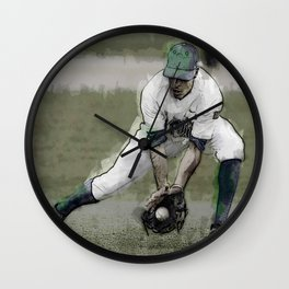 Stopping a Ground Ball in Baseball Game Wall Clock