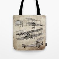 airplanes Tote Bags featuring airplanes by Кaterina Кalinich