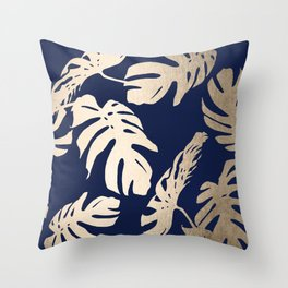Simply Palm Leaves in White Gold Sands on Nautical Navy Throw Pillow