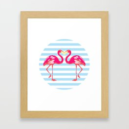 Flamingo, Flamingo t-shirt, watercolor poster, pink in blue stripes, circle Framed Art Print