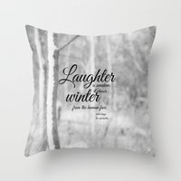 les miserables Throw Pillows featuring Les Miserables Quote Winter by KimberosePhotography