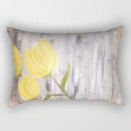 Yellow Tulips in Grey Rectangular Pillow