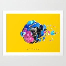 Mega Man Damaged Art Print