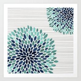 Blooms and Stripes, Aqua and Navy Art Print