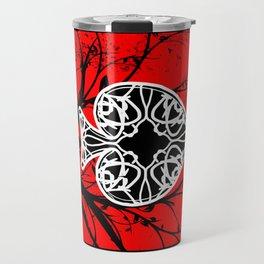 Red and Black Grunge Tree Ace of Spades Travel Mug