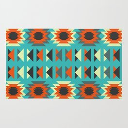 Ethnic triangles in blue Rug