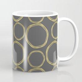 Grey & Gold Circles Coffee Mug