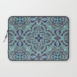 Chalkboard Floral Pattern in Teal & Navy Laptop Sleeve