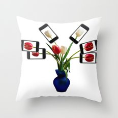 iphone flowers in vase Throw Pillow