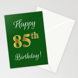 "Elegant ""Happy 85th Birthday!"" With Faux/Imitation Gold-Inspired Color Pattern Number (on Green) Stationery Cards"