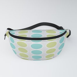 Mid Century Modern Retro Geometric Shapes Stripes Turquoise Green Gray Fanny Pack