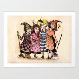 Four Witch Friends Art Print
