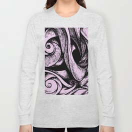 Swirl (black and pink) Long Sleeve T-shirt