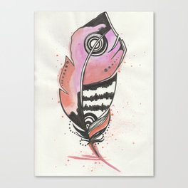 Pink and Orange Feather Canvas Print