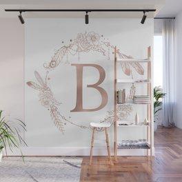 Letter B Rose Gold Pink Initial Monogram Wall Mural