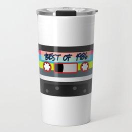 "Here's A Great 80's design A Plain 80's Design Saying ""Best Of 1986"" Tape T-shirt Design Vintage Travel Mug"