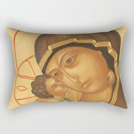 Orthodox Icon of Virgin Mary and Baby Jesus Rectangular Pillow