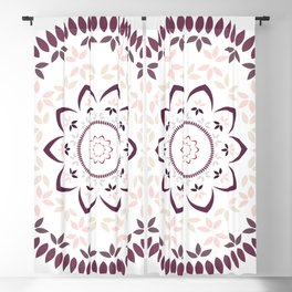 Leaf and petal floral Mandala with radial symmetry Blackout Curtain