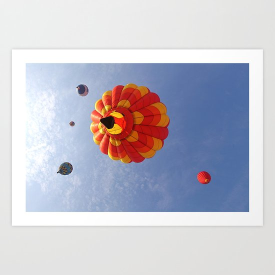 Up, Up and Away in a Hot Air Balloon Art Print