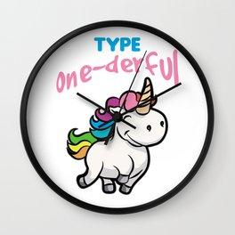 TYPE ONE DERFUL Diabetes Diabetic funny Unicorn Wall Clock