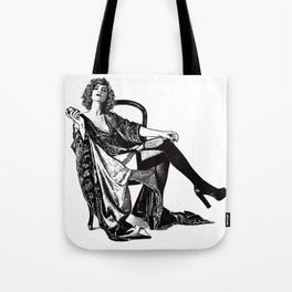 Retro Woman Wearing Vintage Lingerie and Drinking from Flask Tote Bag