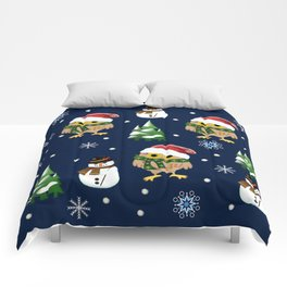 Cute Xmas pattern design with owls and snowmen Comforters