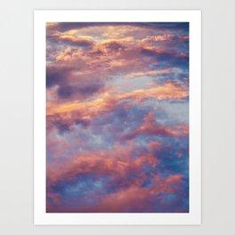 Pink Blue Sky Clouds Art Print