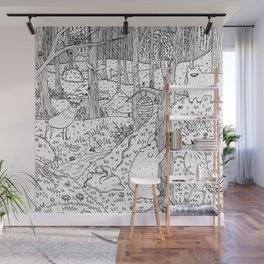 Diurnal Animals of the Forest Wall Mural