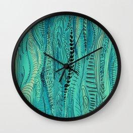 Long Blue Pattern Wall Clock