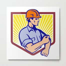 Construction Worker Rolling Up Sleeve Retro Metal Print