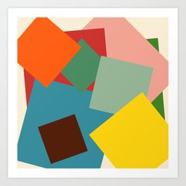 Colorful Minimalist Abstract Art Squares Art Print