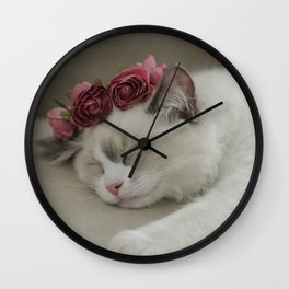 SLEEPY KITTY by Monika Strigel Wall Clock