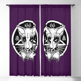 Black Metal Cat Purple Blackout Curtain