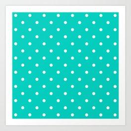 Aqua Small Polka Dots Pattern Art Print