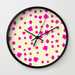 Hot Pink Spots on Yellow Wall Clock